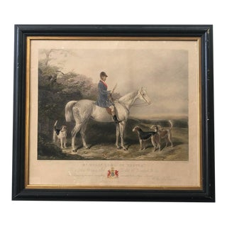 """Antique Framed Etching of Mr. Will M Long on """"Bertha"""" For Sale"""