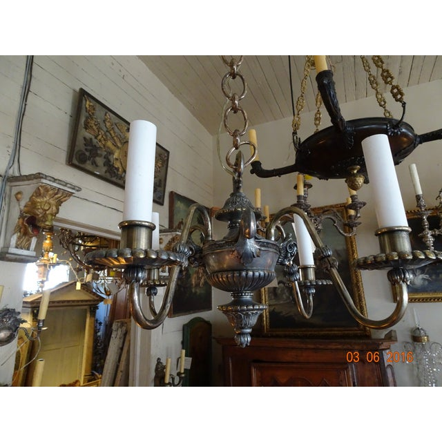 Small French 19th Century Pewter Chandelier For Sale - Image 10 of 11