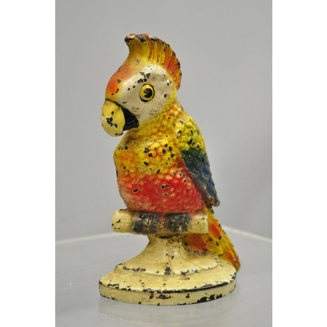 "Antique Art Novueau Cast Iron Hand Painted 8"" Cockatoo Parrot Figurine Doorstop For Sale - Image 10 of 11"