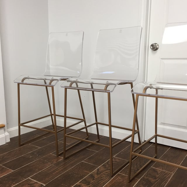 Modern Style Gabby Acrylic King Counter Stools - Set of 4 For Sale In Boston - Image 6 of 11