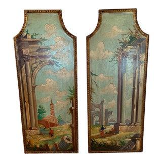 Venetian Hand Painted Landscape Panels -Pair For Sale