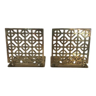 Mid-Century Modern Brass Geometric Bookends - a Pair For Sale