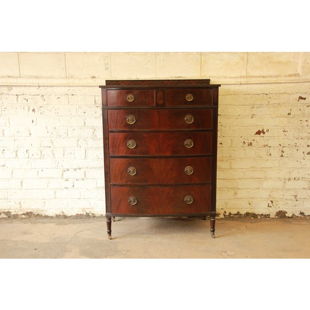 Early American Flame Mahogany Highboy Dresser - Image 2 of 9