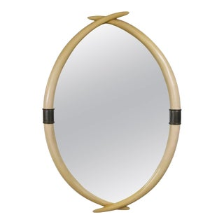 Faux Tusk and Brass Mirror by Chapman For Sale