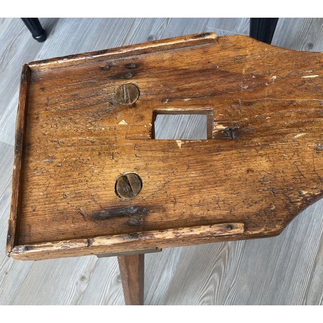 Brown Antique Primitive Rustic Handmade Wooden Farm Milking Stool Bench For Sale - Image 8 of 9