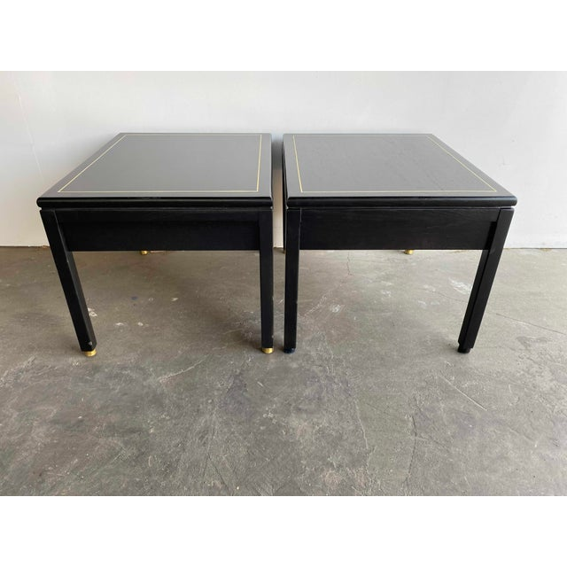 Mid 20th Century American of Martinsville MCM Ebony Side Tables With Brass Inlays and Pulls For Sale - Image 5 of 13