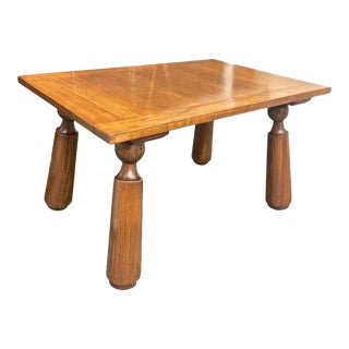 Organic Oak Coffee Table with Massive Legs For Sale