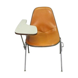 Vintage Mid Century Vinyl Bucket Chair For Sale