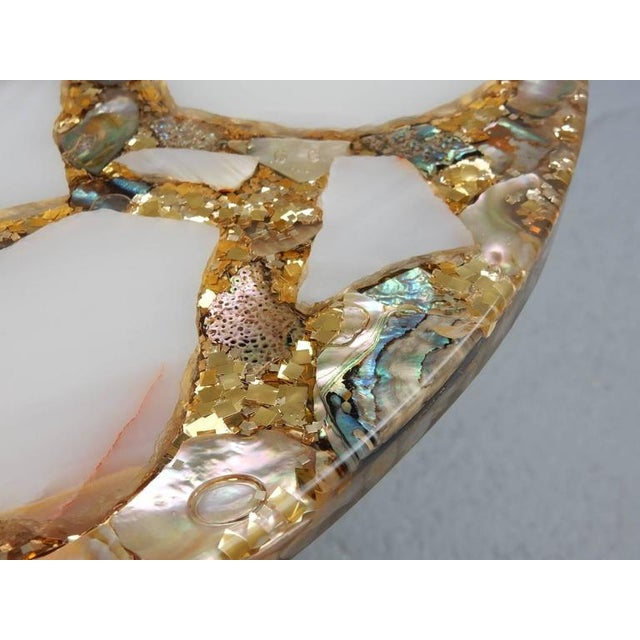 Arturo Pani Vintage Arturo Pani Hollywood Regency Agate & Gold Side - A Pair For Sale - Image 4 of 7
