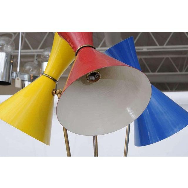 Blue Stilnovo Italian Three-Light Floor Lamp For Sale - Image 8 of 9