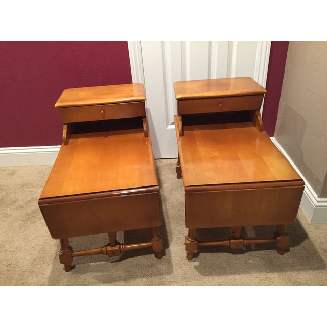 Traditional Style Wooden End Tables - Pair - Image 2 of 8