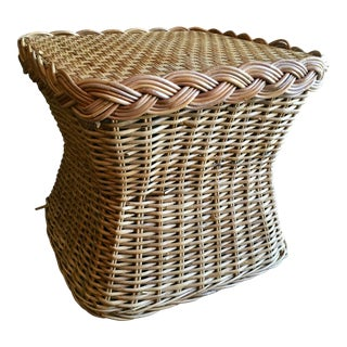 Country Wicker Side Table For Sale