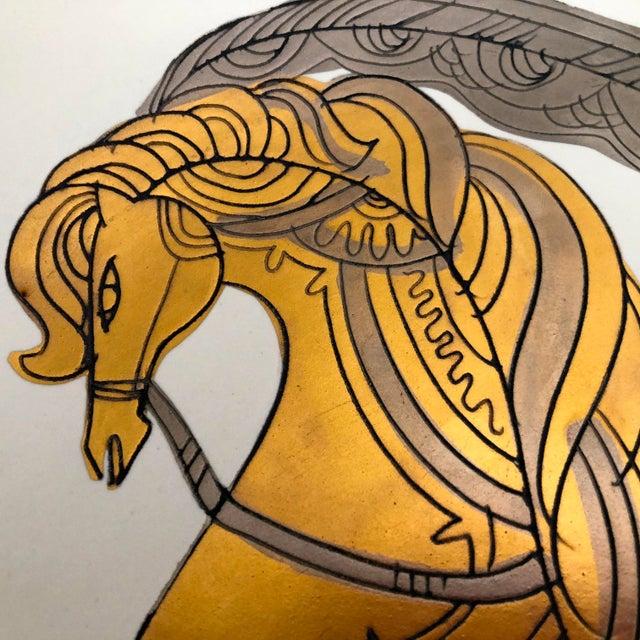 """Sascha Brastoff Signed Sascha Brastoff Vintage Mid-Century 16"""" Gilded Enamel Charger For Sale - Image 4 of 11"""