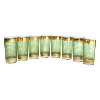 1960s Green & Gold Hi-Ball Glasses - Set of 8