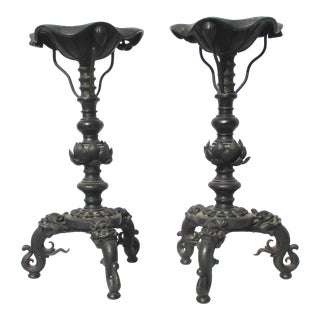 Ming Bronze Candle Sticks Extra Large - a Pair For Sale