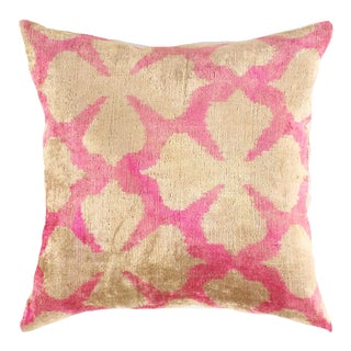 Turkish Hand Woven Silk Velvet Pillow 20'' #Ti 306 For Sale