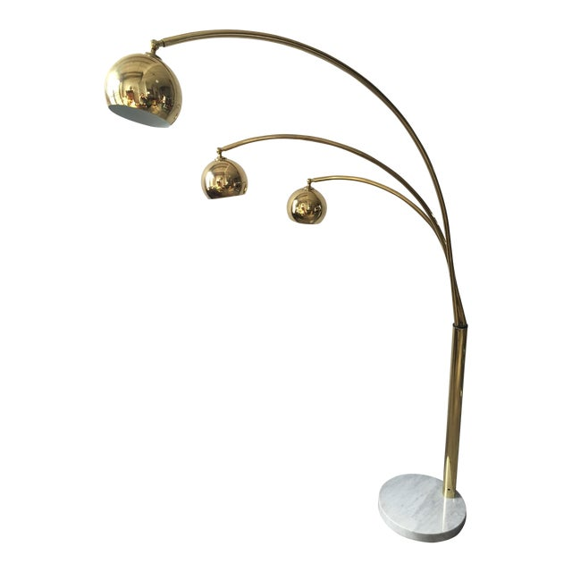 Mid-Century Brass 3 Branch Orb Lamp W/ Marble Base - Image 1 of 10