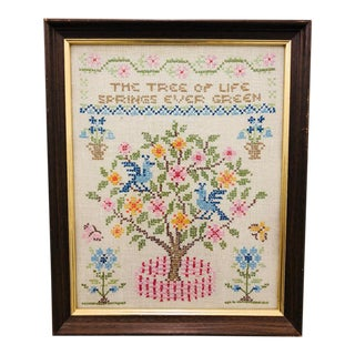 Vintage Tree of Life Needlepoint in Frame For Sale