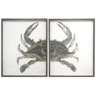 Green & Grey Split Crab in Pewter Frame - Total 48x30 For Sale
