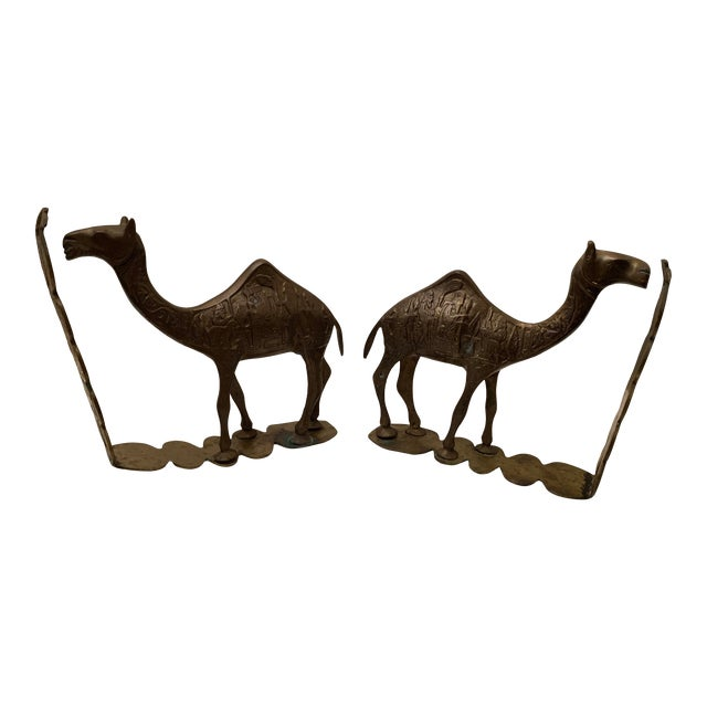 Vintage Mid-Century Egyptian-Style Solid Brass Camel Bookends- a Pair For Sale