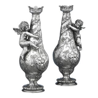 Pair of Silvered Bronze Vases For Sale