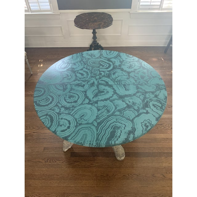 Faux Malachite Hand Painted Table Top For Sale In Dallas - Image 6 of 6