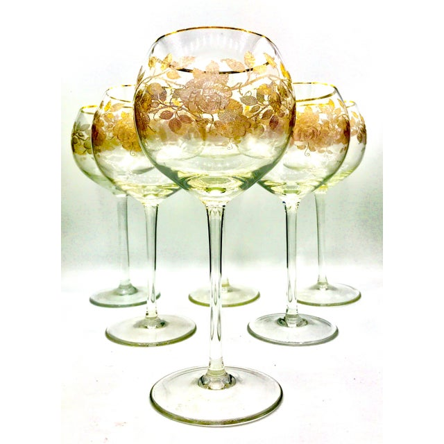 This is a very rare set of circa 1900-1920 needle etch Baccarat Hock Glasses. Baccarat who was known for this style. The...