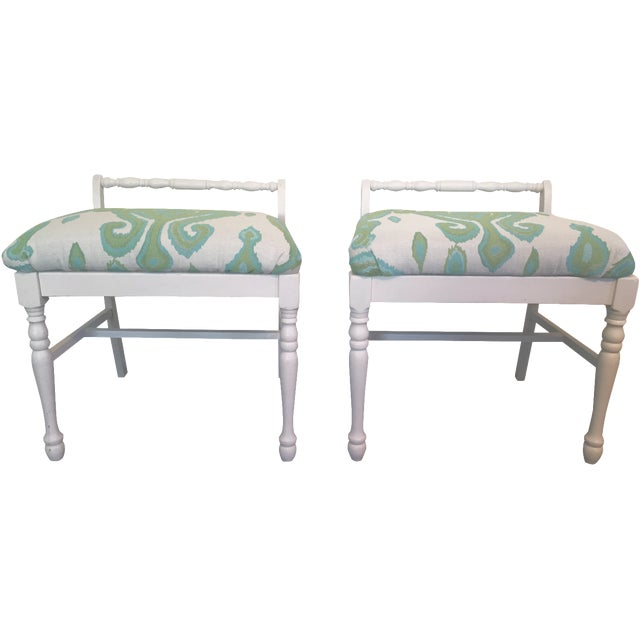 Ikat Upholstered Bench Ottomans - A Pair - Image 1 of 4