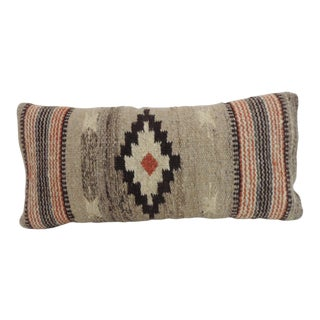 Vintage Petite Southwestern Style Woven Wool Decorative Lumbar Pillow For Sale