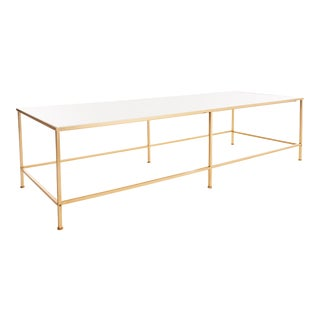 1950s Mid Century Harvey Probber Vitrolite and Brass Coffee Table For Sale