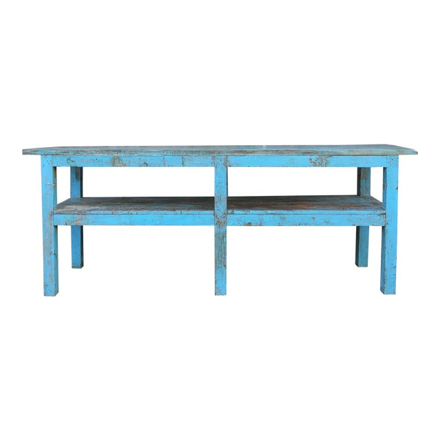 Colonial Blue Farmhouse Kitchen Table For Sale