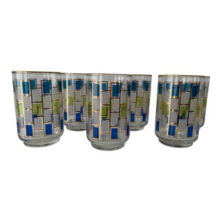 Mid-Century Blue and Green Squares Rocks Glasses - Set of 6 For Sale