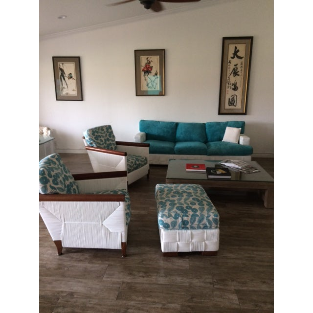 Donghia Block Island 2 Armchairs and Ottoman W/New Goose Down Pillows For Sale - Image 5 of 8