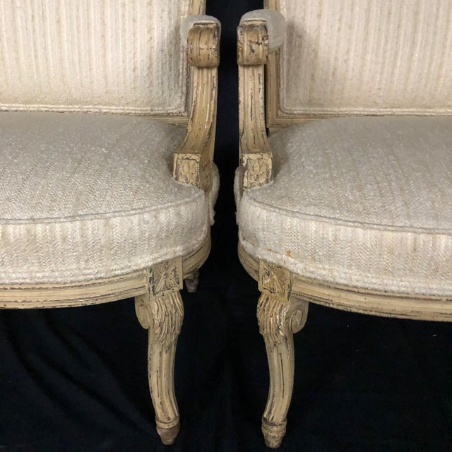 Cream Louis XIV Neoclassical Style Cream Painted French Bergere Armchairs -A Pair For Sale - Image 8 of 13