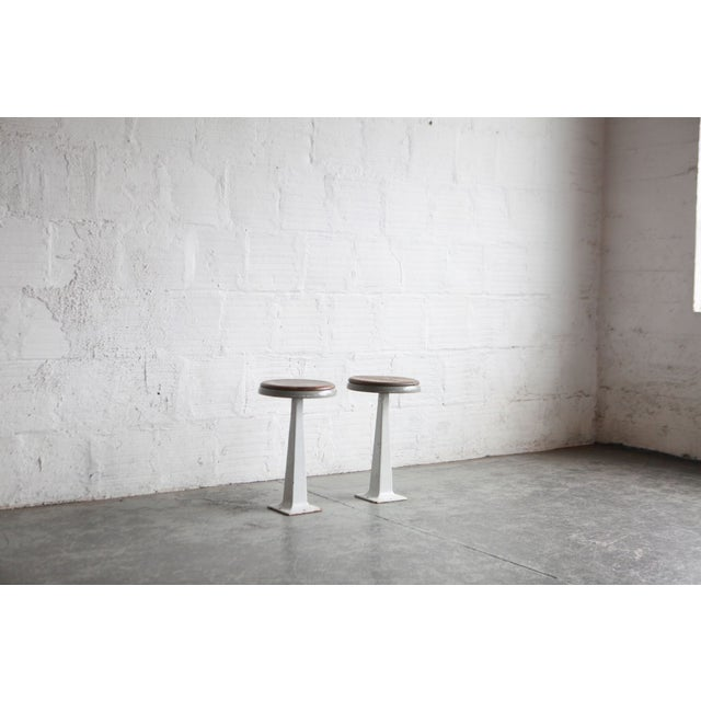 Mid-Century Modern White Industrial Stools - a Pair For Sale - Image 3 of 5
