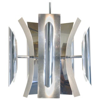 Mid-Century Modern Ten-Light Chandelier in Aluminum or Stainless, 1960s For Sale