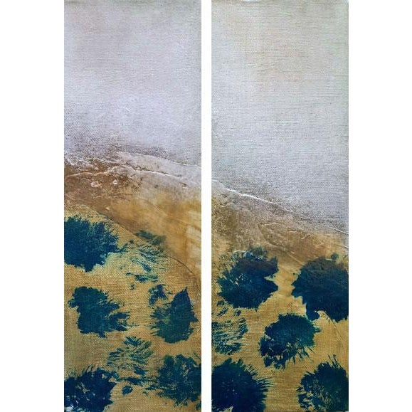 Drops of Jupiter Diptych Modern Abstract Textured Small Art Painting Set - a Pair - Image 2 of 6