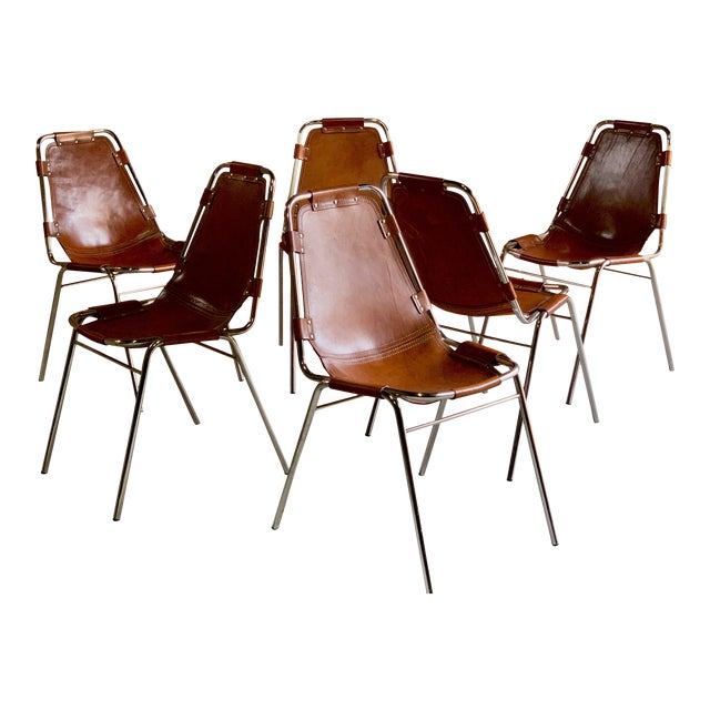 Les Arcs Dining Chairs Leather, 1960s - Set of 6 For Sale