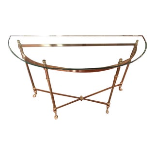 Hollywood Regency Style Demilune Brass & Glass Table For Sale