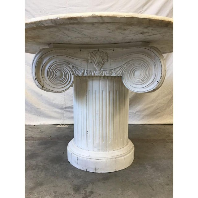 Vintage Marble Top Round Column Base Dining Table - Image 6 of 7
