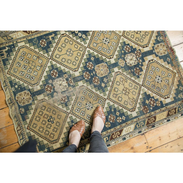"Vintage Fragmented Caucasian Square Rug - 3'9"" x 4'8"" - Image 2 of 7"