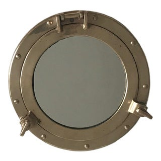 Vintage Hollywood Regency Modern Nautical Brass Port Hole Mirror For Sale