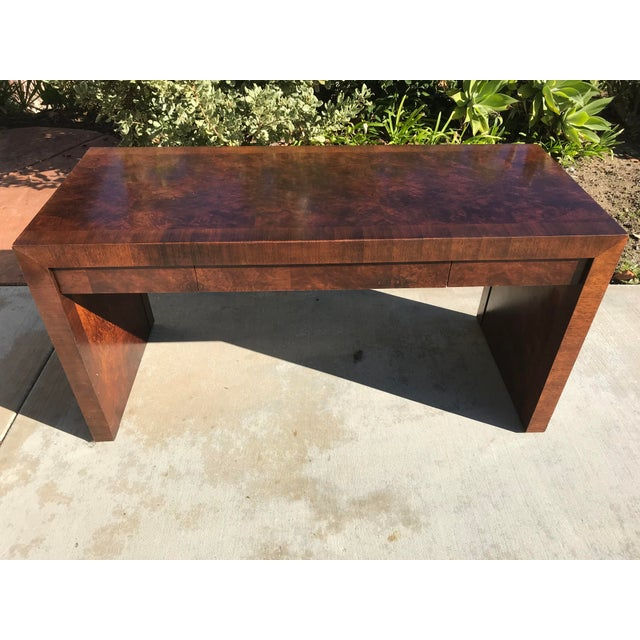 Vintage Burl Wood Parsons Writing Desk by Hekman Furniture Company For Sale - Image 12 of 12
