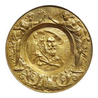 Late 18th Century Antique Tribute to Pierre Paul Rubens Hand Hammered Brass Charger For Sale