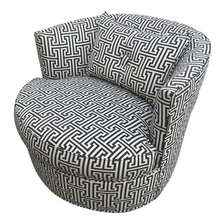 Mid-Century Modern Black and White Bernice Swivel Chair