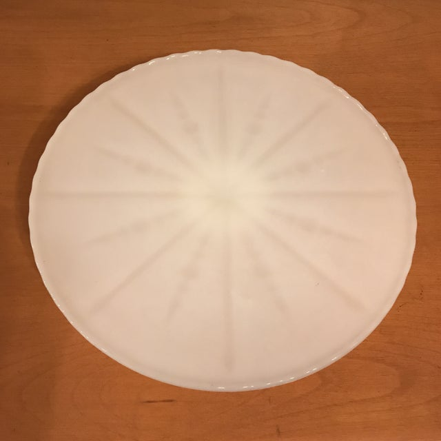 White Milk Glass Cake Stand For Sale - Image 9 of 11