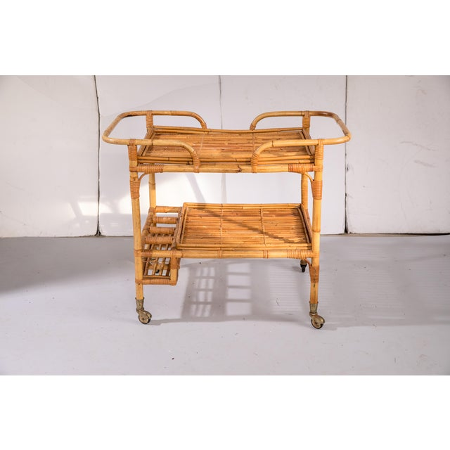 Mid-Century Rattan Bar Cart For Sale - Image 4 of 9