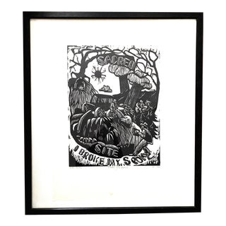 "Taos Society of Arts ""I Broke My Spoke"" Artist's Proof Woodblock Print by Dean Porter, Framed For Sale"