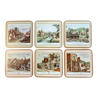 English Village Coasters - Set of 6 For Sale