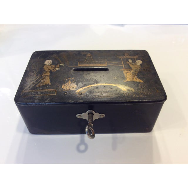 Wood 19th Century Antique Black Lacquer Chinoiserie Money Box With Key For Sale - Image 7 of 7